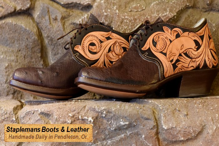 Handmade Wax French Calf Cowhide, Shark and Bison Bull Hide Boots